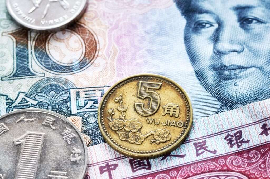 Close up picture of Chinese yuan.